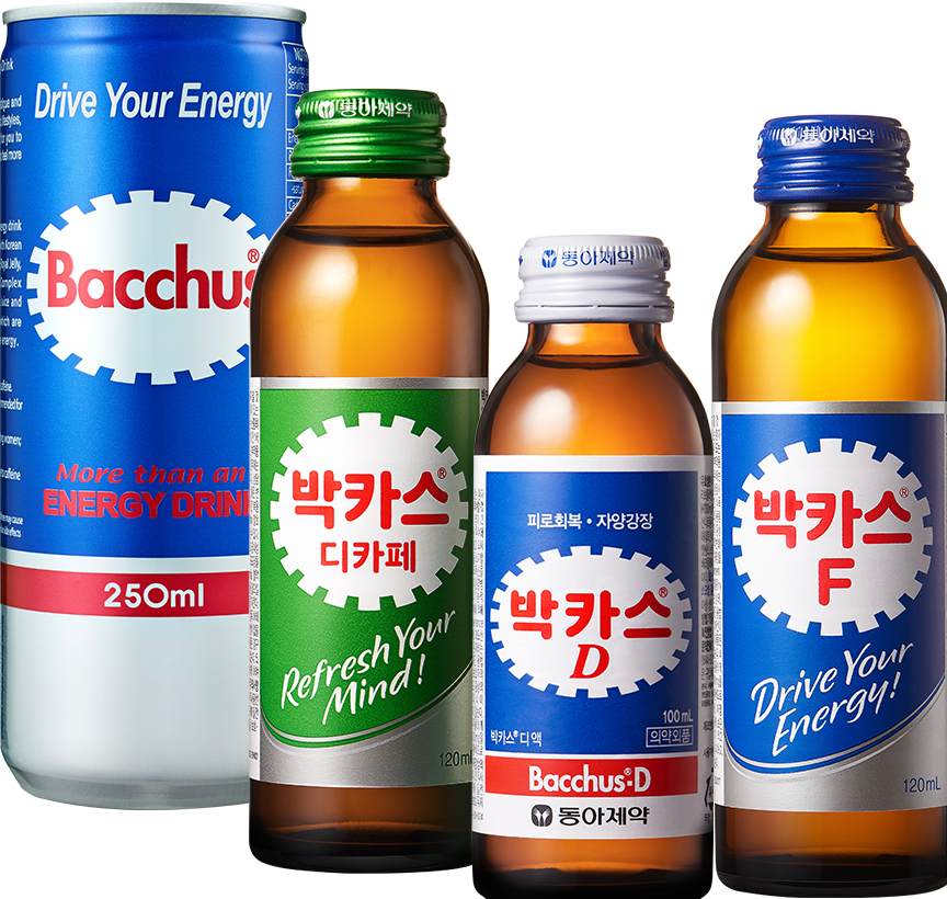 Drive your Energy Bacchus more then an Energy Drink 250ml, 박카스 Decafe-a 동아제약 피로회복.자양강장 Refresh Your Mind! 100ml, 박카스D 동아제약 피로회복.자양강장 100ml Bacchusd-D, 박카스 F Drive Your Energy 120ml